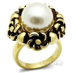 Womens IP Gold White Synthetic Pearl Ring RI0G-06586