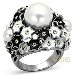 Womens High Polish White Synthetic Pearl Ring RI0T-06880