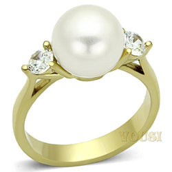 Womens IP Gold White Synthetic Pearl Ring RI0T-06992