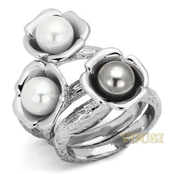 Womens High Polish Multi Color Synthetic Pearl Ring RI0T-07476