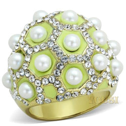 Womens IP Gold White Synthetic Pearl Ring RI0T-07832