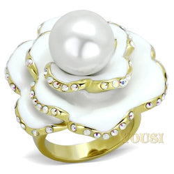 Womens IP Gold White Synthetic Pearl Ring RI0T-07880