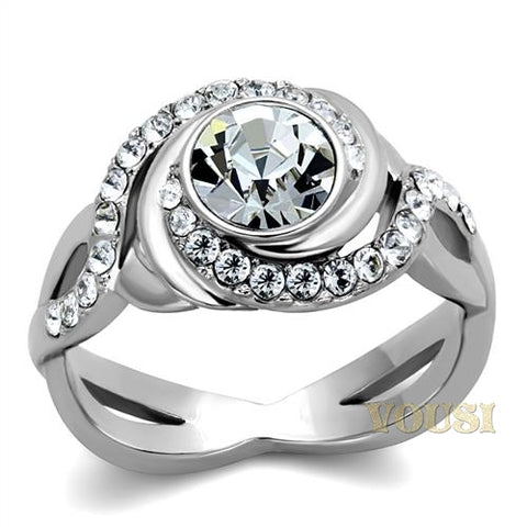 Womens High Polish Clear Cubic Zirconia Ring RI0T-08011