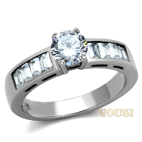 Womens High Polish Clear Cubic Zirconia Ring RI0T-08017