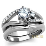Womens High Polish Clear Cubic Zirconia Ring RI0T-08018