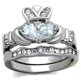 Womens High Polish Clear Cubic Zirconia Ring RI0T-08019