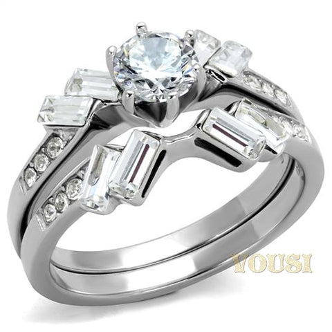 Womens High Polish Clear Cubic Zirconia Ring RI0T-08023