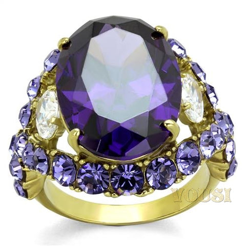 Womens IP Gold Amethyst Cubic Zirconia Ring RI0T-08042