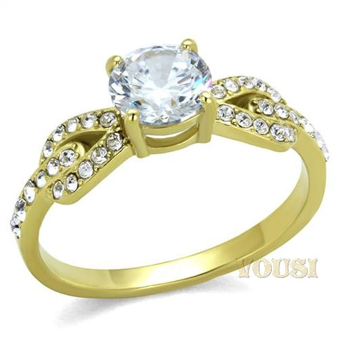 Womens IP Gold Clear Cubic Zirconia Ring RI0T-08050