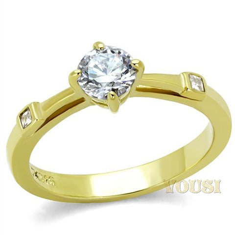 Womens IP Gold Clear Cubic Zirconia Ring RI0T-08052