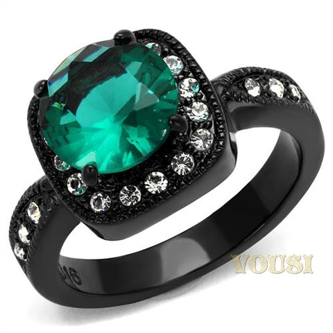 Womens IP Black Blue Zircon Synthetic Glass Ring RI0T-08083