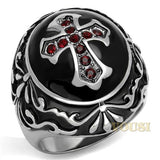 Mens High Polish Siam Crystal Ring RI0T-08093, Jewelry - Worlds Largest Jewelry Store