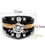 Womens IP Two Tone (Rose Gold & Black) Clear Cubic Zirconia Ring RI0T-08099