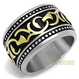 Mens IP Two Tone (Gold & Silver) Black Epoxy Ring RI0T-08117, Jewelry - Worlds Largest Jewelry Store