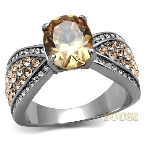 Womens High Polish Champagne Cubic Zirconia Ring RI0T-08125