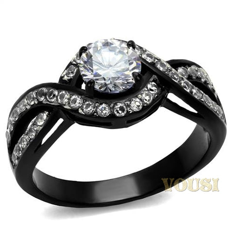 Womens IP Two Tone ( Black & Silver) Clear Cubic Zirconia Ring RI0T-08155