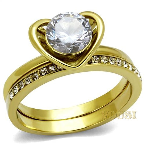 Womens IP Gold Clear Cubic Zirconia Ring RI0T-08168