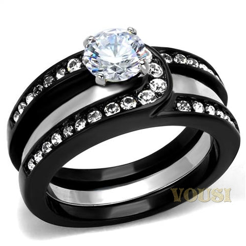 Womens IP Two Tone ( Black & Silver) Clear Cubic Zirconia Ring RI0T-08176