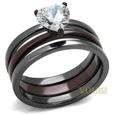 Womens IP Two Tone (Gray & Dark Brown) Clear Cubic Zirconia Ring RI0T-08227