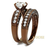Womens IP Light Brown Clear Cubic Zirconia Ring RI0T-08228