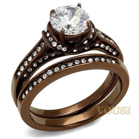 Womens IP Light Brown Clear Cubic Zirconia Ring RI0T-08244