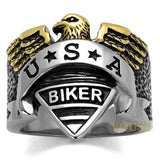 Mens IP Two Tone (Gold & Silver) Black Epoxy Ring RI0T-08283, Jewelry - Worlds Largest Jewelry Store