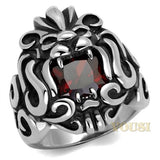Mens High Polish Garnet Cubic Zirconia Ring RI0T-08295, Jewelry - Worlds Largest Jewelry Store