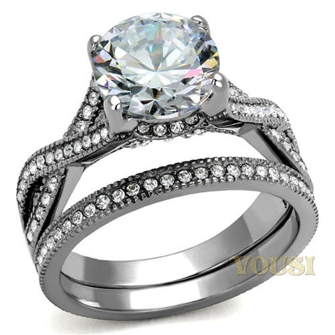 Womens High Polish Clear Cubic Zirconia Ring RI0T-08302