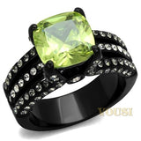 Womens IP Black Apple Yellow Cubic Zirconia Ring RI0T-08315