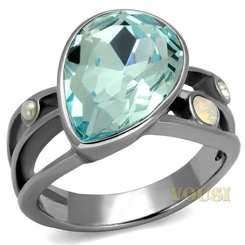 Womens High Polish Aquamarine Crystal Ring RI0T-08326