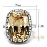 Womens High Polish Champagne Cubic Zirconia Ring RI0T-08327