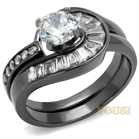 Womens IP Light Black Clear Cubic Zirconia Ring RI0T-08329