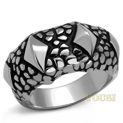Womens High Polish Black Epoxy Ring RI0T-08366