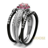 Womens IP Two Tone ( Black & Silver) Light Rose Cubic Zirconia Ring RI0T-08446