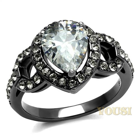 Womens IP Light Black Clear Cubic Zirconia Ring RI0T-08450