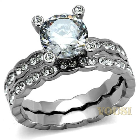 Womens High Polish Clear Cubic Zirconia Ring RI0T-08454