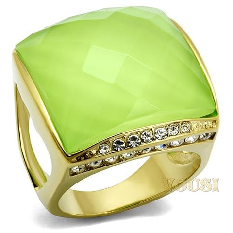Womens IP Gold Apple Yellow Synthetic Resin Ring RI0T-08456