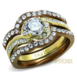 Womens IP Two Tone (Gold & Light Brown) Clear Cubic Zirconia Ring RI0T-08464