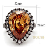 Womens IP Dark Brown Champagne Cubic Zirconia Ring RI0T-08475