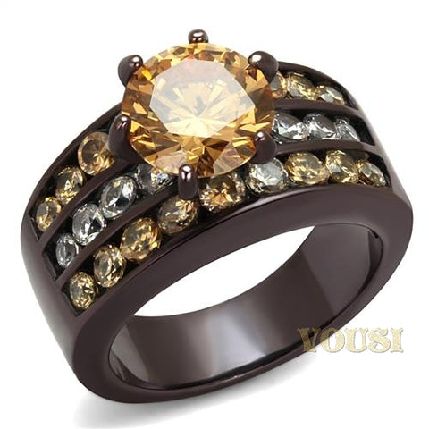 Womens IP Dark Brown Champagne Cubic Zirconia Ring RI0T-08481