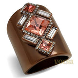 Womens IP Light Brown Rose Crystal Ring RI0T-08532