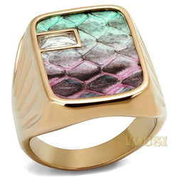 Womens IP Rose Gold Multi Color Leather Ring RI0T-08534
