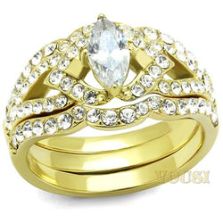 Womens IP Gold Clear Cubic Zirconia Ring RI0T-08540