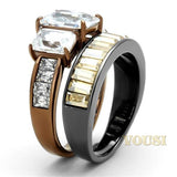 Womens IP Two Tone (Light Black & Light Brown) Clear Cubic Zirconia Ring RI0T-08544