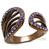 Womens IP Light Brown Tanzanite Crystal Ring RI0T-08552