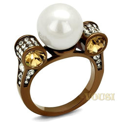 Womens IP Light Brown White Synthetic Pearl Ring RI0T-08571