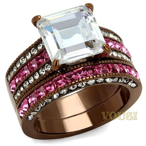 Womens IP Light Brown Clear Cubic Zirconia Ring RI0T-08579