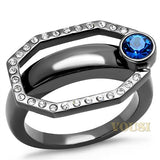 Womens IP Light Black Capri Blue Crystal Ring RI0T-08602