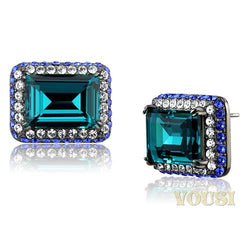 Womens IP Light Black Blue Zircon Crystal Earrings EA0T-08605