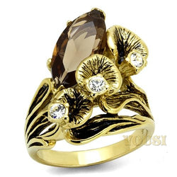 Womens IP Gold Brown Synthetic Glass Ring RI0T-08616